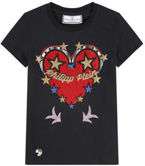 Philipp Plein Graphic T-shirt with rhinestones - Honey Lips