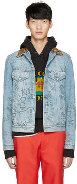 Gucci Blue Denim Writing Jacket