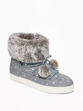 Old Navy Faux-Fur-Trim Pom-Pom Boots for Girls