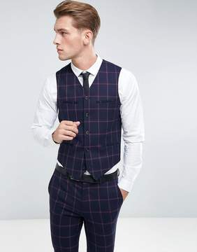 Asos Super Skinny Suit Vest In Navy And Pink Windowpane Check