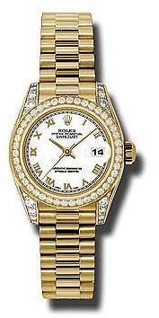 Rolex Lady-Datejust 26 White Dial 18K Yellow Gold President Automatic Ladies Watch