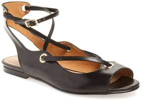 French Sole Women's Wiley Peep-Toe Leather Flat