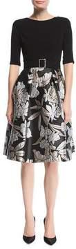 Rickie Freeman For Teri Jon Crepe-Top Cocktail Dress w/ Floral Skirt