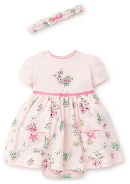 Little Me Baby Girl's Three-Piece Floral Butterfly Cotton Headband, Dress and Bloomer Set
