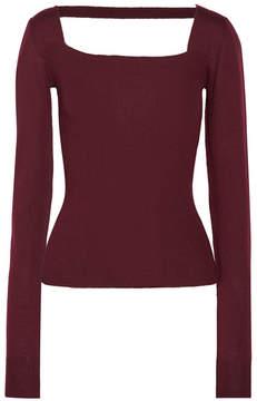 Chalayan Cutout Ribbed Merino Wool Sweater - Burgundy