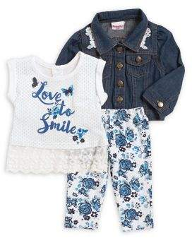 Nannette Baby Girl's Floral Printed Three-Piece Set