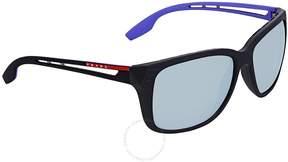 Prada Linea Rossa Grey Violet Mirror Rectangular Sunglasses