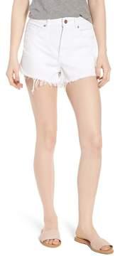 DL1961 Cleo High Waist Cutoff Dolphin Hem Denim Shorts