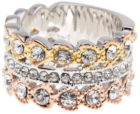 Ariella Collection Tri-Tone Crystal Barrel Ring