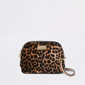 River Island Brown leopard print kettle cross body bag