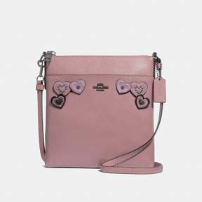 COACH Coach New YorkCoach Messenger Crossbody With Heart Applique - DUSTY ROSE/BLACK COPPER - STYLE