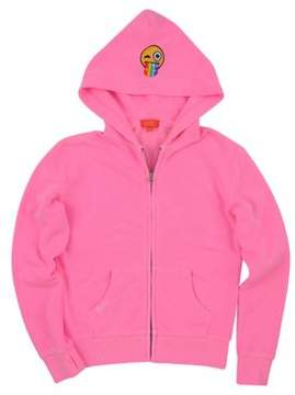 Butter Shoes Girl's Burnout Zip Emoji Patch Hoodie