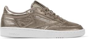 Reebok Club C 85 Metallic Textured-leather Sneakers - Gold
