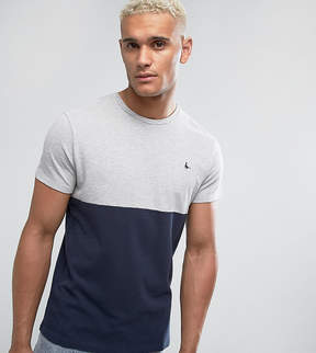 Jack Wills Devonshire Slim Fit Pique Color Block T-Shirt In Navy