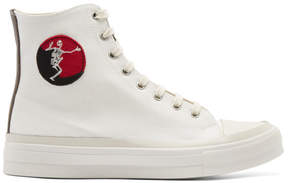 Alexander McQueen White Skeleton Patch High-Top Sneakers