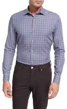 Ermenegildo Zegna Shadow Plaid Cotton Sport Shirt, Burgundy/Blue/White