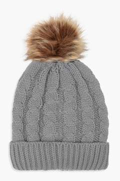 boohoo Amy Cable Knit Faux Fur Beanie