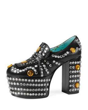 Gucci Amilna Crystal Platform Loafer, Black