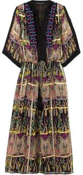 Etro Embellished Metallic Printed Silk-blend Jacquard Maxi Dress - Black