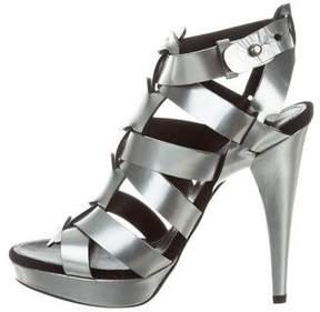 Barbara Bui Metallic Caged Sandals