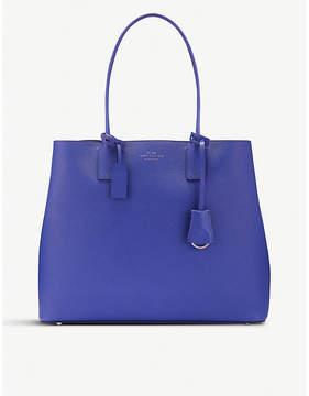 Smythson Blue Panama Cross Grain Leather Business Tote Bag