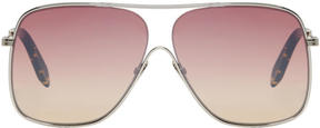 Victoria Beckham Silver and Pink Loop Navigator Sunglasses