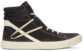 Rick Owens Black and Off-White Geothrasher High-Top Sneakers