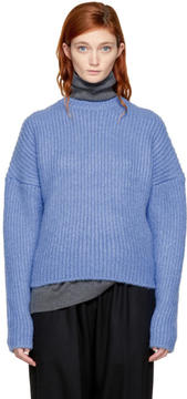 Enfold Blue Fluffy Basic Sweater