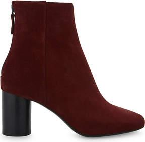 Sandro Ladies Burgundy Sacha Suede Heel Ankle Boots