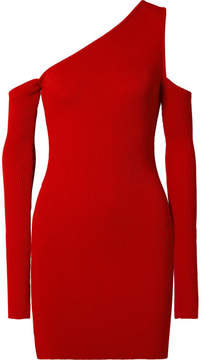 Amiri Cutout One-shoulder Ribbed-knit Mini Dress - Red