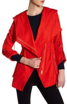 GUESS Asymmetrical Zip Hooded Utility Jacket
