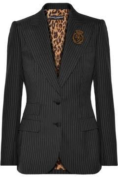 Dolce & Gabbana Embellished Pinstriped Wool Blazer - Charcoal