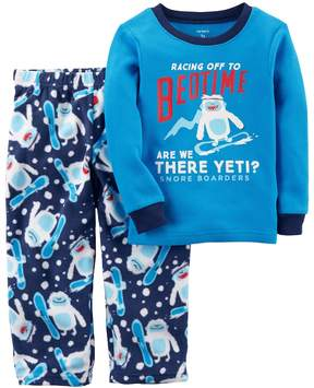 Carter's Toddler Boy Snowboarding Yeti Thermal Top & Microfleece Bottoms Pajama Set