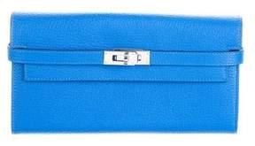 Hermes 2017 Chevre Mysore Kelly Longue Wallet - BLUE - STYLE