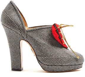 Charlotte Olympia Leading Lady suede-heart hound's-tooth pumps