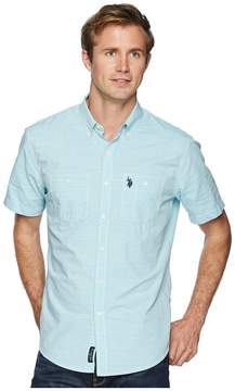 U.S. Polo Assn. Short Sleeve EOE Slub Two-Pocket Woven Shirt-ZW Men's Short Sleeve Button Up
