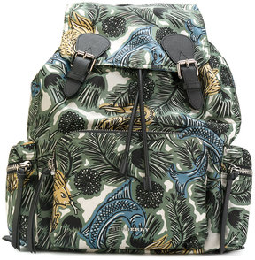 Burberry Beasts print gabardine backpack