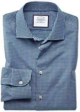 Charles Tyrwhitt Extra Slim Fit Semi-Spread Collar Business Casual Non-Iron Navy & Green Gingham Cotton Dress Shirt Single Cuff Size 15/34