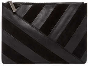 alice + olivia Suede & Leather Striped Large Zip Pouch