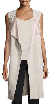 Bagatelle Open-Front Suede Long Vest, Tan/Pink