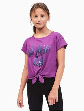 Calvin Klein Jeans Girls Shine-On Tie-Front T-Shirt