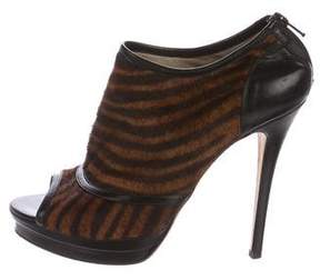 Jerome C. Rousseau Ponyhair Tiger Print Booties