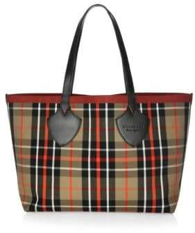 Burberry Medium Tartan Cotton Tote - CARAMEL - STYLE