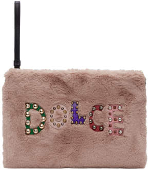 Dolce & Gabbana Pink Eco Fur Studded Logo Pouch