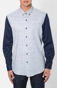 7 Diamonds Men's 'Waveforms' Trim Fit Short Sleeve Print Woven Shirt