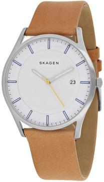 Skagen Holst SKW6282 Men's Orange Leather and Stainless Steel Watch