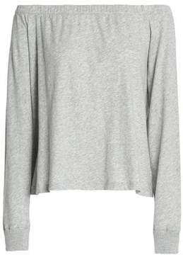 Enza Costa Off-The-Shoulder Mélange Cotton And Cashmere-Blend Jersey Top