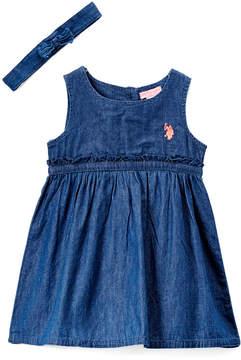 U.S. Polo Assn. Medium Wash Denim Empire-Waist Dress & Headband - Infant