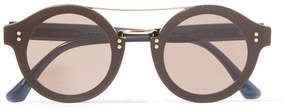 Jimmy Choo Round-frame Glittered Acetate And Gold-tone Sunglasses - Bronze