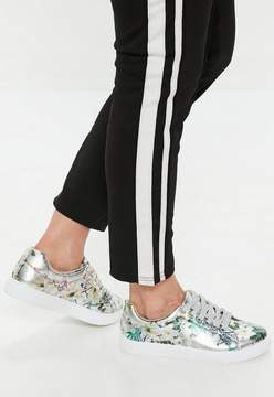 Missguided Silver Metallic Floral Lace Up Sneakers